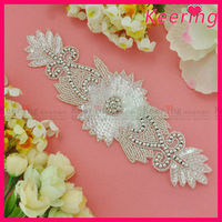 Modern design sequin beaded rhinestone applique bridal motif WRA-531