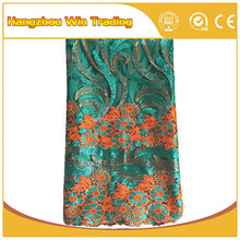 Newest French Net Embroidery Fabric Design Wholesale African Sequin Lace Fabric for Wedding Dresses 2016