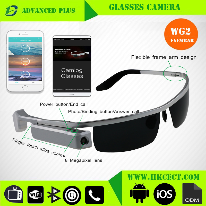 802.11b/<strong>g</strong>/n wifi BT4.0/BLE Bluetooth smart glasses android 720p black mini hidden camera glasses wifi glasses camera