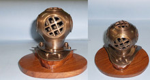 Brass Nautical Antique Finish 4 inch Mini Decorative Diving Helmet with Wood Base, Item number Sai-1634