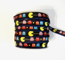 "PRINTED FOLD OVER ELASTIC PAC-MAN 5/8"" *YOUR CHOICE 1, 3 or 5 YARDS"