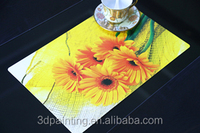Heat proof sunflower printing plastic table ware placemat
