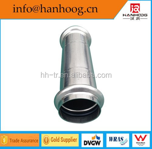 Stainless steel slip coupling press fittings DVGW W534