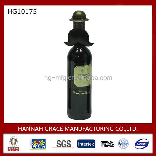 Metal Bowler Hat Decorative Wine Bottle Cover