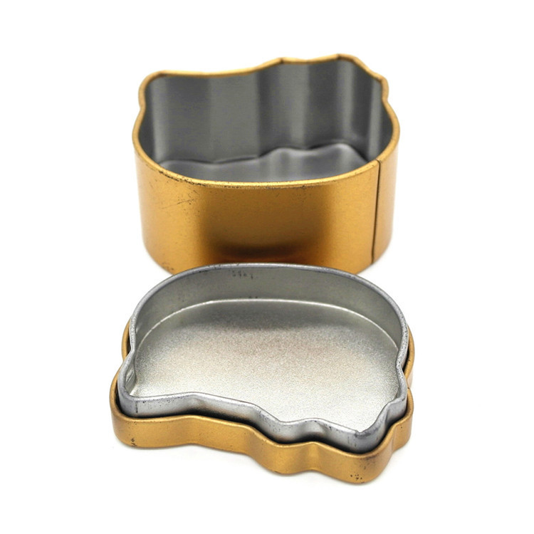 Small cat shape or other animal shape tin case box
