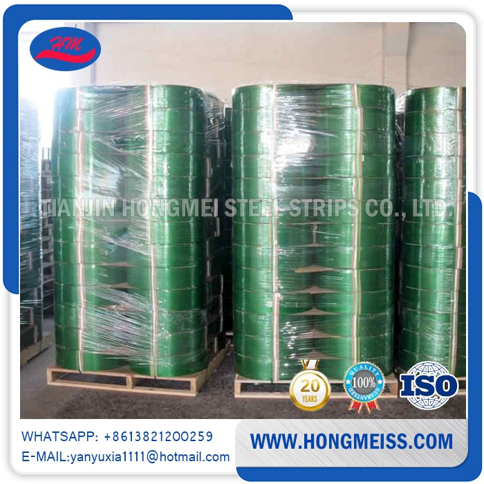 Excellent tensile strength Custom Polyester green pet plastic packing strip tape with good quality