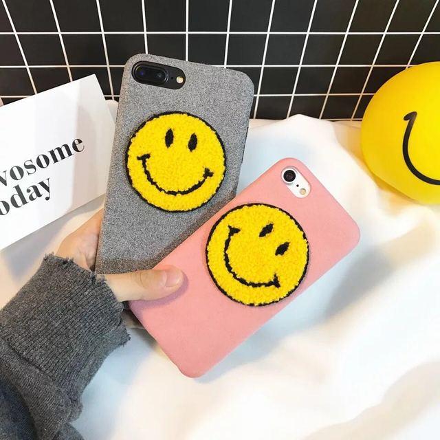 2017 Korea Smile Face Plush Phone Case for iPhone 7 7plus 6 6s 6plus Sweet Soft Tpu Silicone Back Cover Case shell