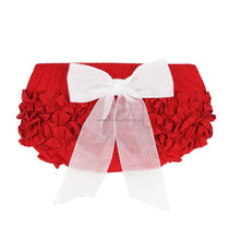 red ruffle cotton baby bloomers
