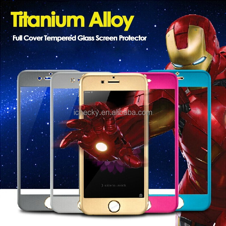 Full Cover Color Titanium Alloy Film guard For iPhone 6 6 Plus Tempered Glass Screen Protectors, for iPhone6 Phone Accessories