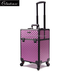 Unique design professiona makeup trolley case rolling train beauty case with wheels