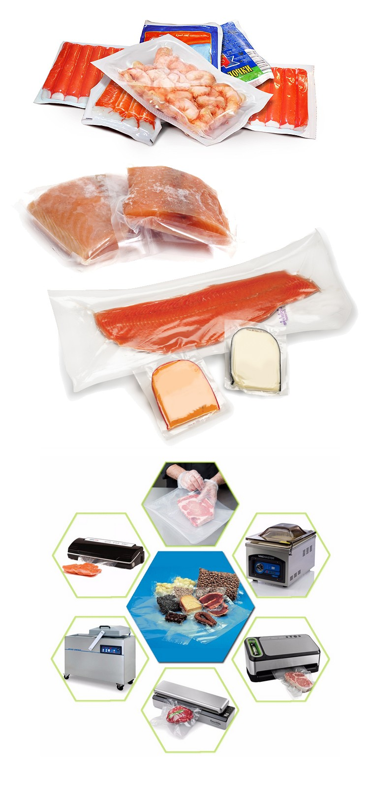 Frozen fish packaging bag for food
