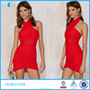 2016 Red georgette bodycon dress halter wrap mini dresses sexy girl's party dress