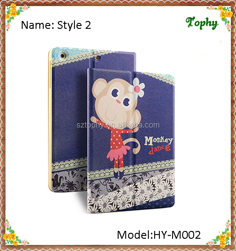 Cute Dancing Monkey Lacework Folio Leather Kids Case Smart Cover For iPad mini 3