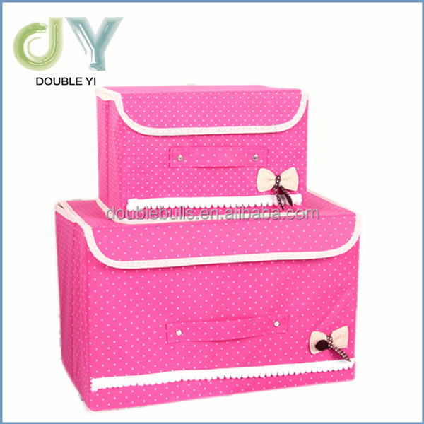 Custom candy color collapsible fabric storage boxes with lid
