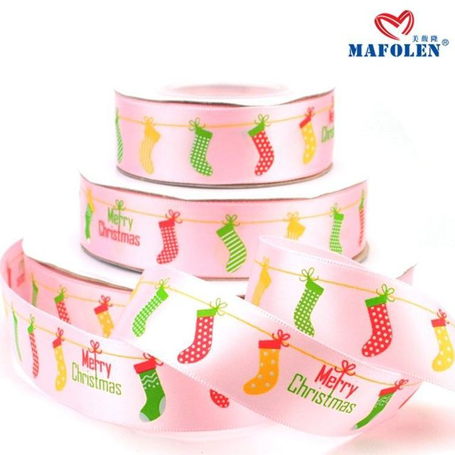 2015 new products christmas celebrate it ribbon satin printed cartoon luxury ribbon