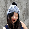 CX-C-58B Genuine Fur Pom Pom Knit Rex Rabbit Fur Hat