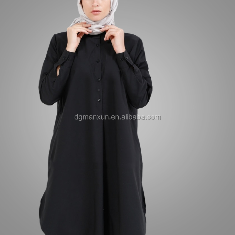 Islamic Clothing Dubai Style Fashion Ladies Tops Fashion Beautiful Embroidered Designs Black Blouse