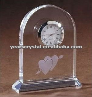Arrival crystal glass desk clock for wedding favor clock(R-1220