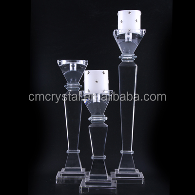 Crystal Pillar Holder Candlestick for event table decoration