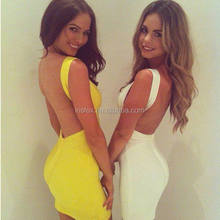 Cocktail Party Formal Backless Prom Dress Yellow Black White Red