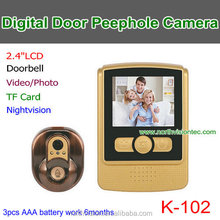 Outdoor battery operated photo video door peephole camera with recorder multi ring used golden door camera
