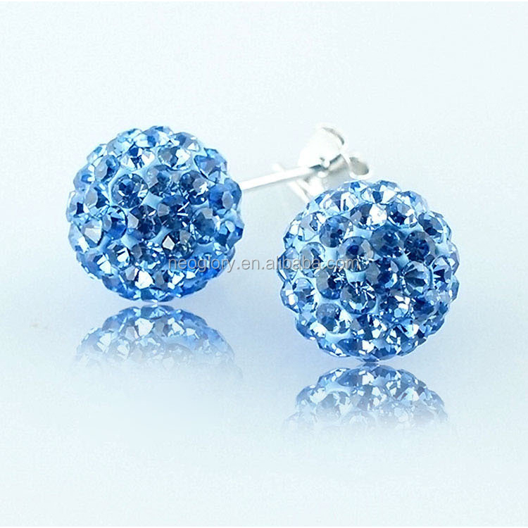 Neoglory Promotion 8mm Austrian Round Crystal Pave Disco Ball Earrings Sterling Silver 925 Stem