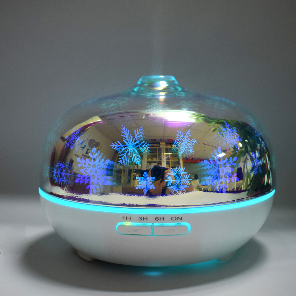Decorative 3D Glass Led Diffuser Humidifier Ultrasonic Aromatherapy Cool Mist with Christmas Snowflakes