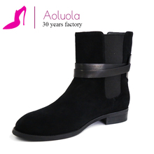 Cow suedebuckle strap black low heel boots german winter boots