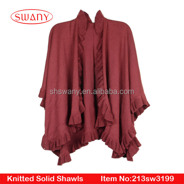 ladies new fashion Acrylic stringy selvedge knitted shawl