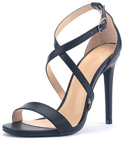 New Arrival Women's Sexy Stilettos High Heel Black Crosses Strap Dress Sandals