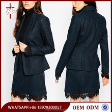 One button opening shawl lapels women's coat and skirt