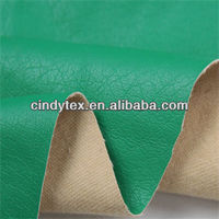 0.65mm drapery green soft viscose polyester cow textured pu leather material