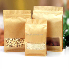 OEM ziplock plastic kraft paper bag for coffee tea packaging / food packaging bag with window
