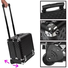 2016 new design black alumimum cosmetic case with telescopic handle