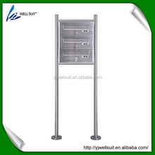3 layer outdoor stainless steel free standing mailbox letterbox postbox newspaper holder with house number