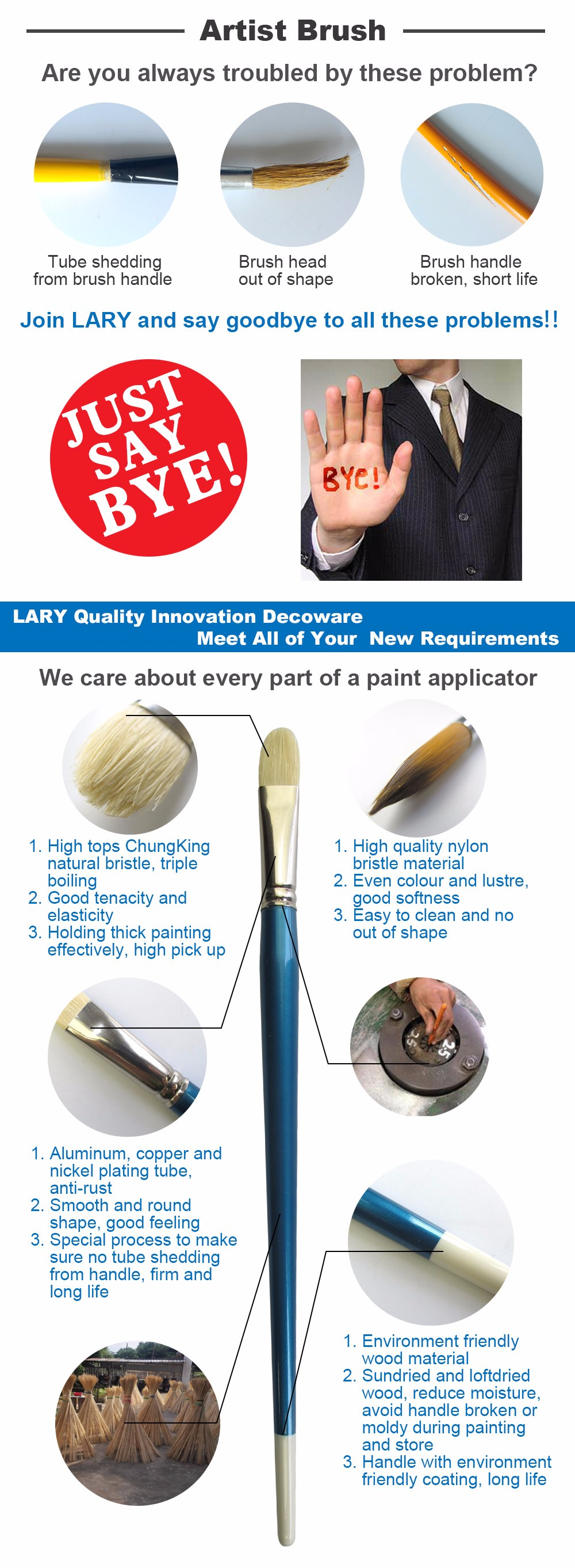 Lary professional wooden handle horse hair artist brush with factory price