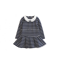 stripe O-nect dress for girl with Peter Pan Collar breathable