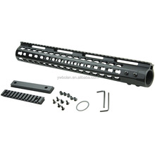 "Black Aluminium Alloy Slim KeyMod System Handguard Free Float Rail Mount 15"" With Steel Barrel Nut For Lasers Flashlights"