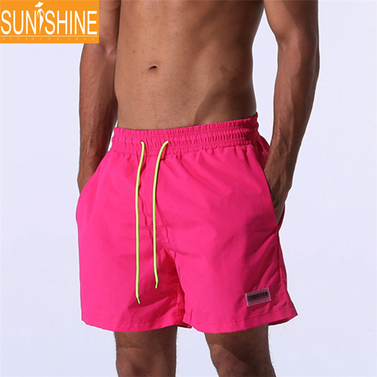 100% Polyester Beach Shorts 4 Way Stretch Men Sexy Blank Board Shorts in Swimwear