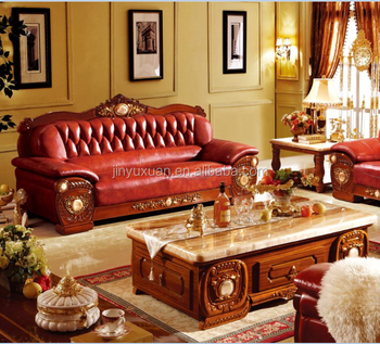 Wooden European Leather Sofa With Marble Coffee Table W306c