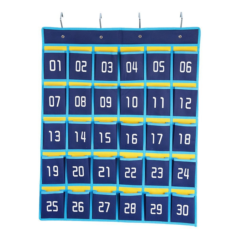 Numbered Classroom Pocket Chart Cell Phones Holder Wall Door Hanging Organizer (30 Pockets)