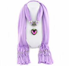 2016 Colored glass peach heart pendant scarf necklace jeweled scarf wholesale