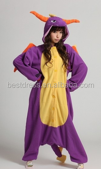 2016 wholesale adult onesie Sleepwear Flannel Spyro the Dragon Onesie Adult Nightgown Animal Adult Onsie Pajamas Sleepwear