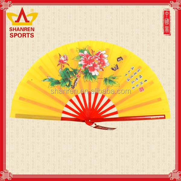 Personalized yellow taffeta silk Kungfu fan for sale