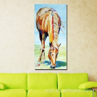 Modern horse eating grass beautfiul animal bedroom decorating famous horse oil paintings