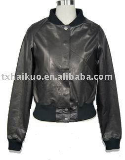 ladies motorbike baseball collar leather jacket