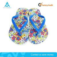 Factory cheap manufacture flower blue childrens child flip flop