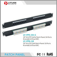 LY-PP5-04-C/LY-PP6-18 RJ 45 CAT6 Cat5e 16 Port Patch Panel, Dual IDC