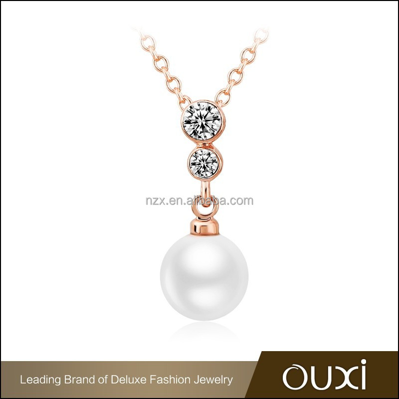 2015 OUXI fashion women pearl necklaces with gold beads made with AAA zircon