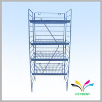 High Quality OEM Floor Standing Metal Wire Folding Tier Shelf for display beverage bottle water